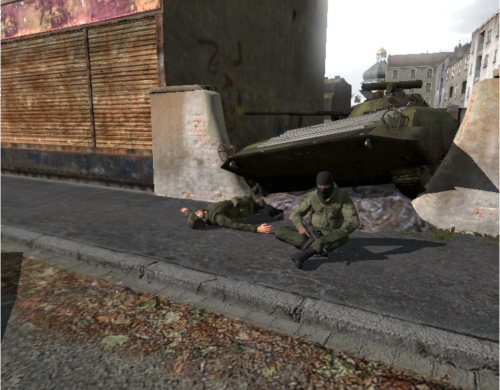 The wreck: Note the dead soldier lying next to the sitting player.